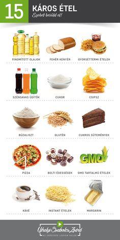 EGYÉL FELE ANNYIT EZEKBŐL, MINT AMENNYIT MOST, ÉS SOKKAL JOBBAN FOGOD ÉREZNI MAGAD! Napjainkban rengeteg káros étel és ital van a boltok polcain, melyek számos módon rombolják egészségedet. Mindig nézd meg a vásárolt ételek és italok összetevőit, és kerüld el a mesterséges, káros anyagokkal teli termékeket. Fogyassz minél több ÉLŐ, nyers zöldséget és gyümölcsöt, és igyál naponta legalább 2-3 liter tiszta vizet (a legjobb a desztillált víz)! Mert AZ VAGY, AMIT MEGESZEL!  Az egészség legyen…