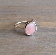 Idaho pink opal and rose quartz ring.