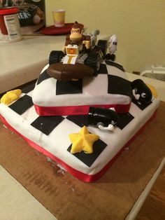 Donkey Kong Mario Kart cake I made for my husbands birthday.