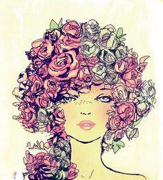 fashion illustration, rose hair