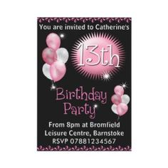 13th Birthday Party Invitation