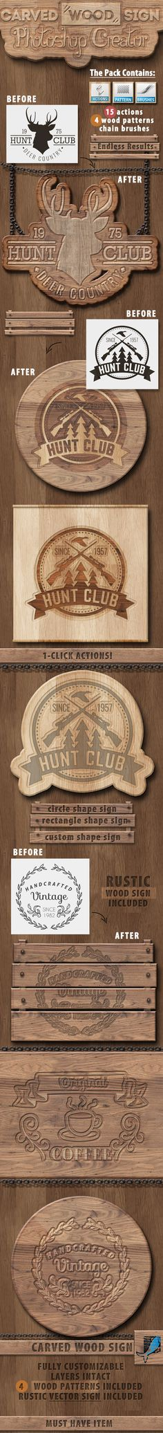 Carved Wood Sign Photoshop Creator - Utilities Actions