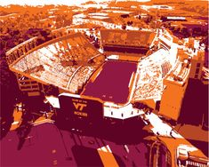 This graphic illustration of the Virginia Tech University Lane Stadium in modern colors is a great new addition to your Man/Woman Cave! Great gift for