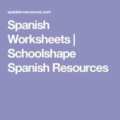 Spanish Worksheets   Schoolshape Spanish Resources