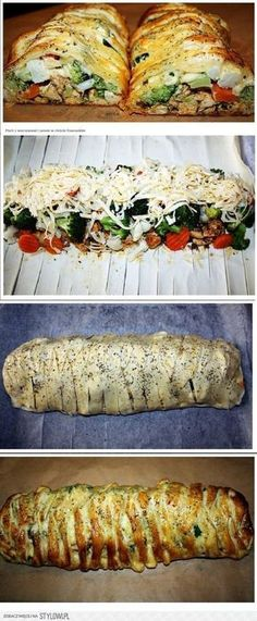 Breast with vegetables and cheese in puff pastry Breast . Kids Meals, Easy Meals, Food Tags, Cooking Recipes, Healthy Recipes, Tapas, Easy Chicken Recipes, How To Cook Chicken, Diy Food