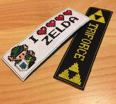 Zelda cross stitch bookmarks! Handmade by me. Computer game geeky craft.