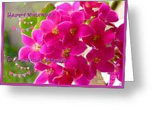 Pink Kalenchoe Birthday Greetings Greeting Card by Joan-Violet Stretch