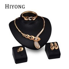 3588123ce HIYONG Fashion Water Drop Earrings Gold Color Chain Crystal Necklace Set Elegant  Ring Wedding Accessories Party
