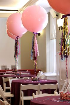 These are the inspiration for the big balloons I want.  Floated 6 feet off the table, with ribbons hanging down, weighted down with mismatched keys.