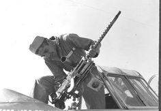 This student fired a .30 caliber machine gun from the back seat of an AT-6, 1942