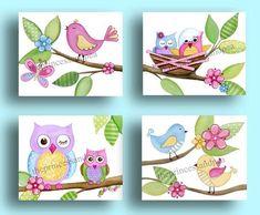 Items similar to Owls nursery art, girls nursery wall art, pink green nursery art decor, owl bedding artwork, kids nursery art on Etsy Owl Wall Art, Owl Artwork, Nursery Artwork, Owl Nursery, Wall Art Decor, Owls Decor, Owl Bedroom Decor, Owl Bedrooms, Pink And Green Nursery