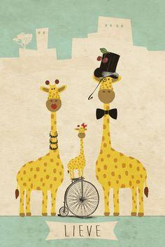 Geboortekaartje meisje of jongen - Lieve - familie giraf - Pimpelpluis - https://www.facebook.com/pages/Pimpelpluis/188675421305550?ref=hl (# giraf - retro - vintage - fiets - kers - stoer - dieren - strik - stad - hoed - origineel)