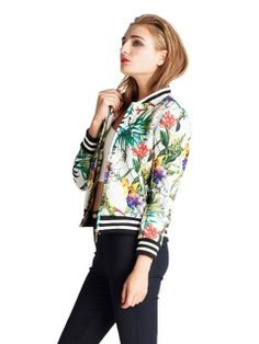 Shop Choies Design Tropical Bomber Jacket from choies.com .Free shipping Worldwide.$24.99