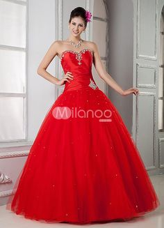 Red Taffeta Applique Sweetheart Womens Quinceanera Dress. See More Quinceanera Dresses at http://www.ourgreatshop.com/Quinceanera-Dresses-C758.aspx