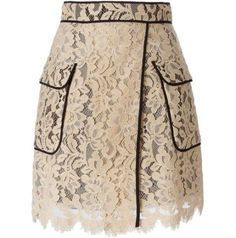 Beige cotton blend floral lace piped skirt from MSGM. Pink Lace Skirt, Floral Lace, Skirt Outfits, Dress Skirt, Floral Print Skirt, Mode Inspiration, Mode Style, Printed Skirts, Polyvore