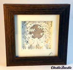 Papercut Hare Moon  handmade papercut  shadow box by OoodleDoodle