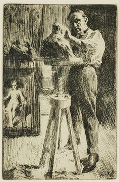 """After Anders Zorn (1860-1920) , """"Sculptor Paolo Troubetzkoy"""", Photogravure"""