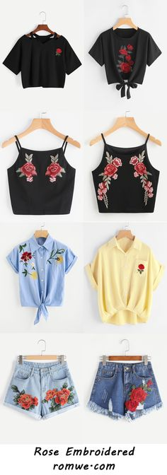 Rose Embroidered Style 2017 - romwe.com