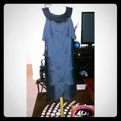 BCBG Scalloped Formal Black Dress Beautiful scalloped dress bold round neck. Worn once to a formal dinner BCBG Dresses
