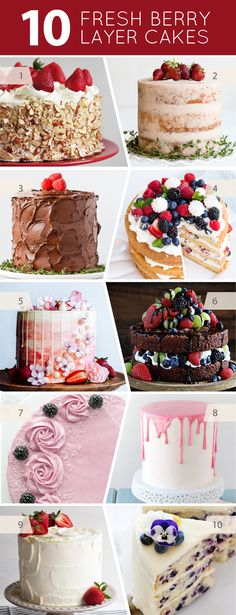 10 Fresh Berry Layer Cakes is part of Layer Cake recipes - 10 Layer Cake Recipes Made with Fresh Berries Strawberries, Raspberries, Blueberries and Blackberries Bake one of these before summer ends! Best Cake Recipes, Cupcake Recipes, Sweet Recipes, Cupcake Cakes, Poke Cakes, 3 Layer Cakes, Sweets Cake, 10 Layer Cake Recipe, Super Torte