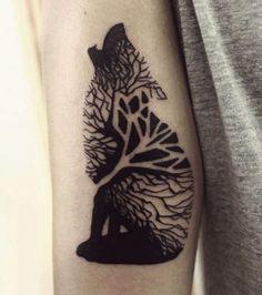 tree wolf cool tattoo