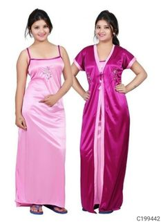Package Contain : 1 Piece Of Nighty With Robe Fabric : Satin Size : . Satin Dresses, Cotton Dresses, Gowns, Satin Nightie, Night Dress For Women, Girls Night, Western Wear For Women, Indian Beauty Saree, 1 Piece