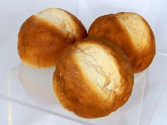 """Sour Dough Rolls - Set of 3 Fake Sour Dough Rolls  Set of 3 faux sour dough rolls  Artificial sour dough rolls are soft to the touch Dimensions: 3"""" x 2"""" Made in the USA"""