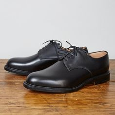 Alfred Sargent Irk Black Calf Derby Shoe: The 'Irk' is a plain fronted, calf leather Derby shoe, with double leather sole and blind lace eyelets.  Made in Northamptonshire, England by Alfred Sargent, Exclusively for Lissom & Muster.  Made on Alfred Sargents 7WK last.