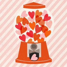 Gumball Love by Clare Owen Illustration, position print.  Happy #ValentinesDay