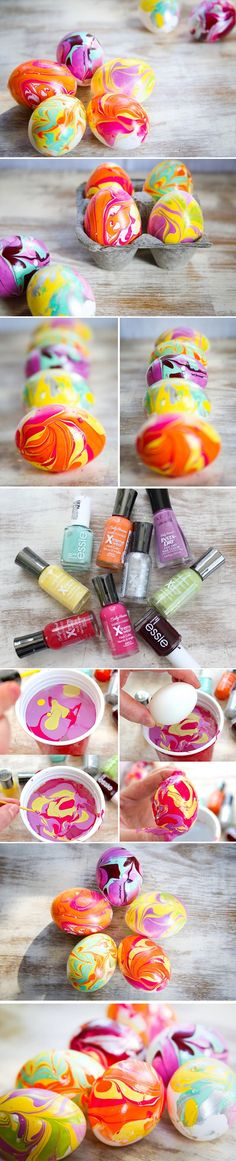 DIY Nail Polish Marbled Eggs-may not be a bad idea since we never end up eating the eggs we color anyway. :-)