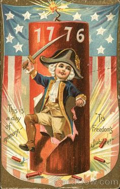 """1776 """"This is a day of memory, - 'Tis Freedom's Jubilee!"""" Raphael Tuck & Son's """"Independence Day"""" Series of Post Cards, No. 109 postmarked in 1907 with a one cent stamp July 4th Holiday, Fourth Of July Decor, 4th Of July Decorations, Vintage Cards, Vintage Postcards, Vintage Images, Vintage Ephemera, Patriotic Images, Liberty"""