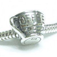 Queenberry Sterling Silver Coffee Cup Mug Bead Charm for Pandora Biagi Troll Chamilia European…