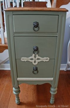Chateau Gray Chalk Paint. Annie Sloan- dresser color with stained top :)