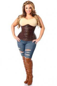 Top Drawer Dark Brown Distressed Faux Leather Underbust Buckle Plus Size Corset