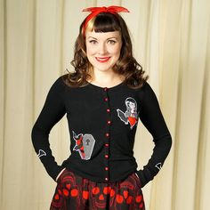 Vampire Heart Coffin Cardigan:I can't get over how awesome these cardigans are from Hell Bunny! This one is black with a vamp gal over a heart and flying bats along with a coffin on the front. It even has black bats embroidered on both sleeves and red buttons down the front. 80percent rayon, 15percent nylon and 5percent spandex, hand wash. SizeBustWaist XS 32-34in... $52.00