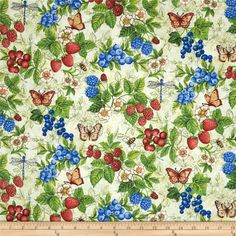 Berry Cobbler Allover Cream from @fabricdotcom  Designed by Elena Vladykina for Henry Glass & Co., this fabric is perfect for quilting, apparel and home decor accents. Colors include green, red, blue, grey and ivory.