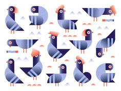 Pigeons by MADEINCOMA #Design Popular #Dribbble #shots