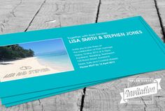 Paradise Beach Wedding Invitation by InvitationDesignNZ on Etsy