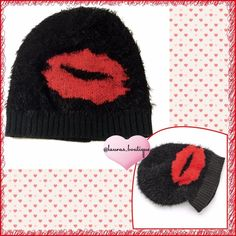 {Juicy Couture} Black Juicy Lips Slouch Beanie HPNWT Juicy Couture Juicy Lips slouch beanie will give you the best way to keep your head warm than wearing couture?!  *Please don't buy listing, comment with size & I'll create your listing *Metallic lips graphic & eyelash fabric, ribbed trim *Acrylic *Hand wash  *Bundle discounts, Smoke-free, No trades Juicy Couture Accessories Hats