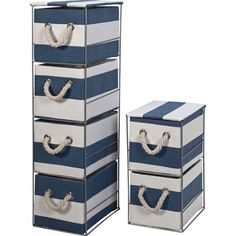 Tall Storage Tower - Blue and White.
