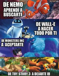 Imagen de toy story, wall-e, and monster inc Sad Disney, Disney Love, Frases Watsapp, Disney Memes, Disney Quotes, Monsters Inc, New Quotes, Life Quotes, Poetry Quotes