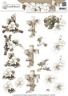 3D Knipvel - Precious Marieke - Condoleance - Sympathy Flowers Sepia