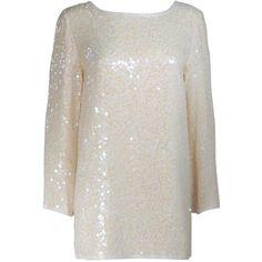 OLEG CASSINI Off White Silk Iridescent Sequin Embellished Tunic Size 6 ($430) ❤ liked on Polyvore featuring tops, tunics, sequin embellished top, off white top, champagne top, silk tunic and off white tunic