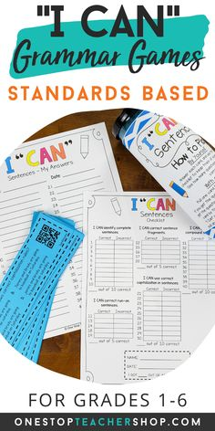 I CAN Grammar Games are engaging, rigorous, and fun! These grammar practice activities cover all grammar standards and word study! Perfect for Grammar Review, Literacy Centers, or Guided Reading Activities! Helps teachers with progress monitoring. Now Available for 1st, 2nd, 3rd, 4th, 5th, and 6th grade. Guided Reading Activities, Writing Activities, Teaching Reading, Fun Learning, Grammar Games, Grammar Practice, Grammar Skills, Grammar Review, Progress Monitoring