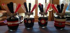 mason jar centerpieces black and white - Google Search