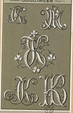 Monogram Design, Monogram Initials, Monogram Letters, Letters And Numbers, Fancy Letters, Calligraphy Alphabet, Illuminated Letters, Embroidery Patterns, Typography