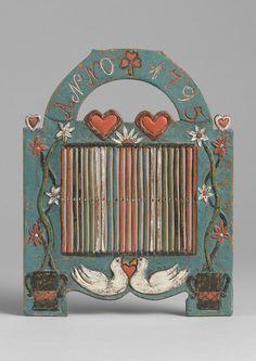folk art love token braid loom - carved & painted wood - swedish, 1795