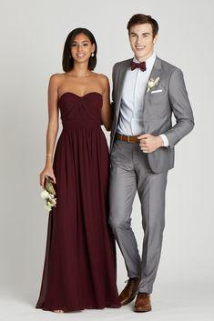 Burgundy And Grey Wedding, Grey Suit Wedding, Burgundy Bridesmaid, Wedding Attire, Bridesmaid Dresses, Fall Wedding Tuxedos, Red Wedding, Wedding Men, Wedding Flowers