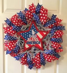 of July God Bless America Wreath, Screen Door Wreath, Thin Wreath by TiraMercantile on Etsy Patriotic Wreath, Patriotic Decorations, 4th Of July Wreath, Easter Wreaths, Holiday Wreaths, Holiday Decor, Wreaths For Front Door, Door Wreaths, Military Wreath
