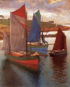 Hugó Poll (Hungarian, 1867-1931) /  Sailing Boats, Pastel on canvas, 80 x 65 cm, private collection